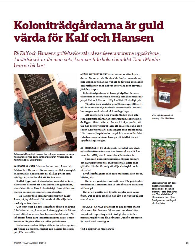 Kalf och Hansen Artikel i Koloniträdgården 1 2015