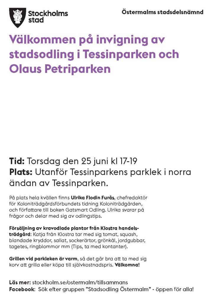 invigning stadsodling Tessinstråket 25 juni 2015 (1)