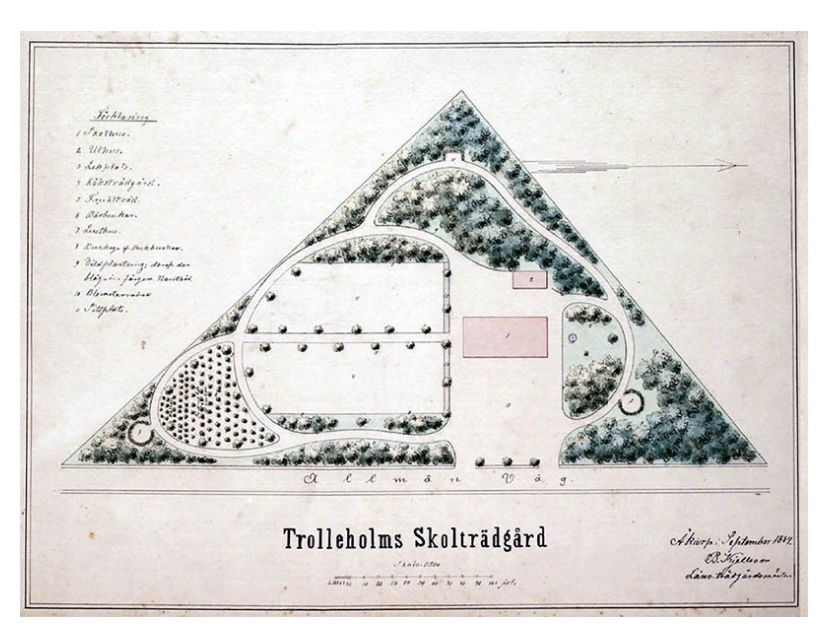 Trolleholms skolträdgård, länsträdgårdsmästare Bengt Kjellsson, 1880-tal