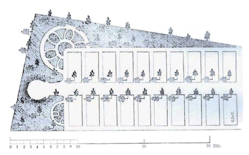Olof Eneroth skiss över skolträdgård, Trädgårdsbok för allmogen, 1860